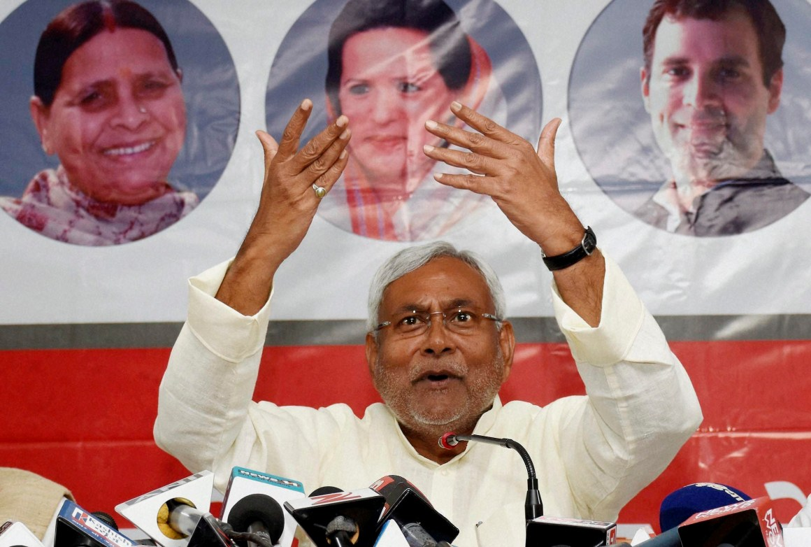 Bihar Chief Minister Nitish Kumar addresses the media at JD(U) party office in Patna. Credit: PTI Photo