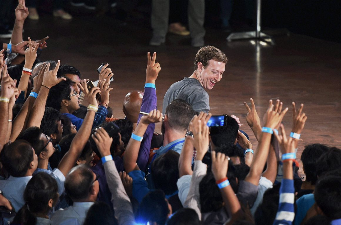 Facebook Chairman and Chief Executive Officer Mark Zuckerberg during an interaction with IIT students at IIT Delhi on Wednesday. Credit: PTI Photo by Shirish Shete