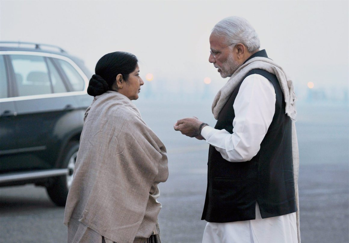 Prime Minister Narendra Modi with Minister for External Affairs Sushma Swaraj before leaving for UK and Turkey, in New Delhi on Thursday. Credit: PTI