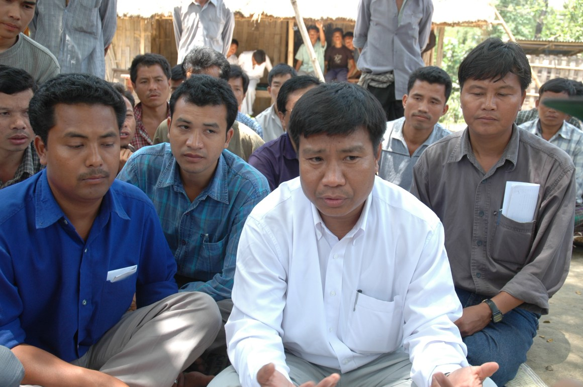 CCRC president Subimal Bikash Chakma (in white) attending a meeting of the refugees