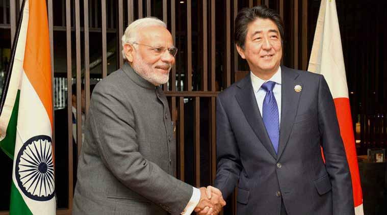 Indian Prime Minister Narendra Modi and his Japanese counterpart Shinzo Abe at a meeting in Kuala Lumpur. Credit: PTI