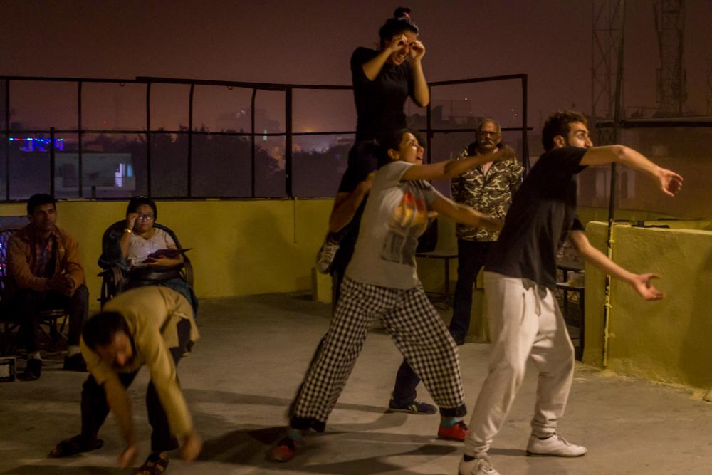 Actors rehearsing at Studio Safdar, Delhi. Credit: rahul M.