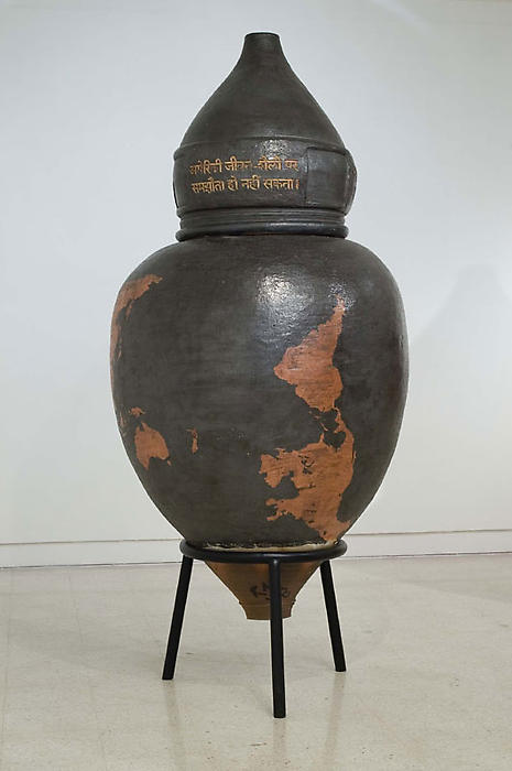 Ray Meeker's Funerary urn in glazed stoneware. Photos courtesy Nature Morte Gallery