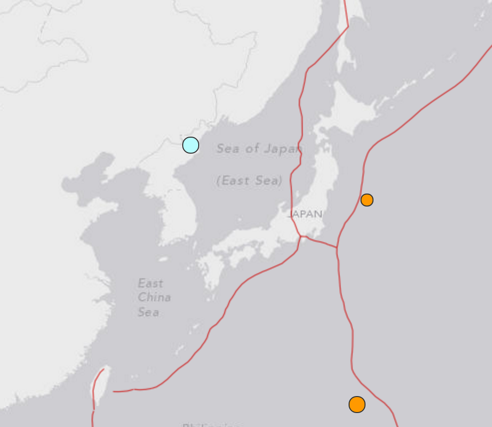 Location of the January 6, 2016, earthquake's location (in blue), 19 km ENE of the town of Sungjibaegam. Source: USGS