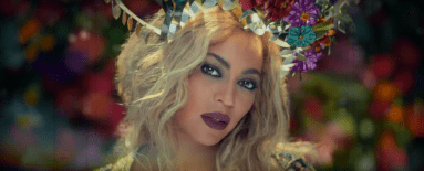 A shot from the music video for 'Hymn for the Weekend', Coldplay's single out January 2016, depicting Beyonce as 'Rani'. Source: YouTube