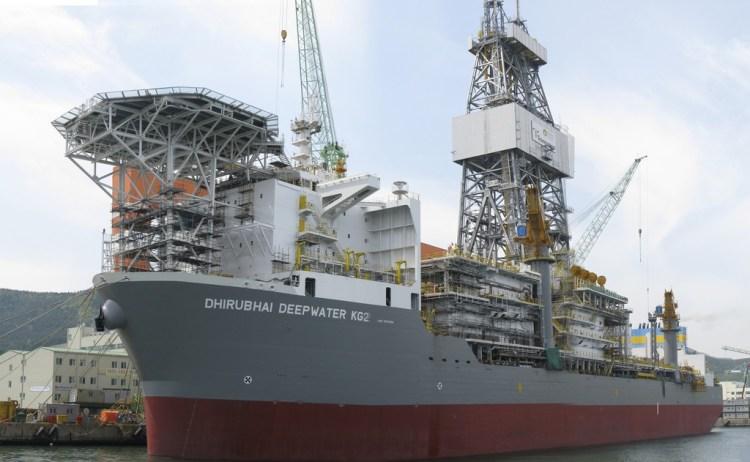 The Dhirubhani Deepwater KG2 drillship setting out on exploration. Credit: John/Gcaptain