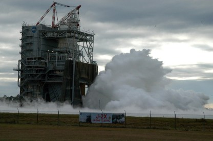 NASA conducted a successful 500-second test firing of the J-2X rocket engine on November 9, 2011, marking another important step in development of an upper stage for the heavy-lift Space Launch System. Credit: nasamarshall/Flickr, CC BY-NC 2.0