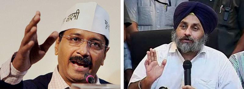 Arvind Kejriwal and Sukbir Singh Badal. Credit: PTI