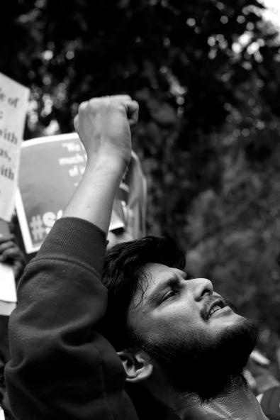A student at the protest for Kanhaiya Kumar. Credit: Shome Basu