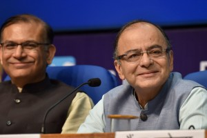 Union Minister for Finance Arun Jaitley and MoS for Finance Jayant Sinha during their Post-Budget Press Conference, in New Delhi on Monday. Credit: PTI Photo by Kamal Singh