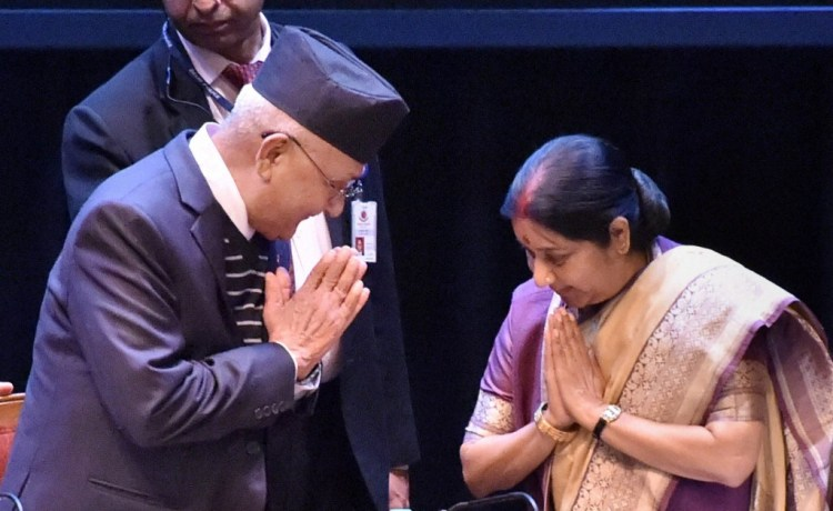 Nepal Prime Minister K P Sharma Oli and External Affairs Minister Sushma Swaraj at the 21st Sapru House Lecture organised by Indian Council of World Affairs, in New Delhi on Monday. Credit: PTI