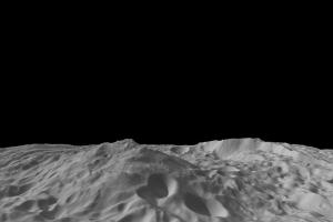 This image of the asteroid Vesta, calculated from a shape model, shows a tilted view of the topography of the south polar region. The image has a resolution of about 1,000 feet (300 meters) per pixel, and the vertical scale is 1.5 times that of the horizontal scale. Caption & credit: NASA/JPL-Caltech/UCLA/MPS/DLR/IDA/PSI