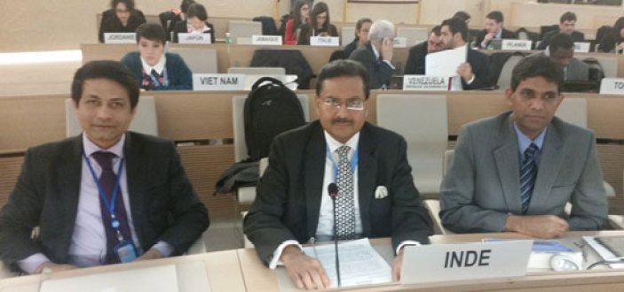 India's ambassador to the UN in Geneva, Ajit Kumar (centre) in the chamber of the UNHRC. Credit: pmindiaun.org