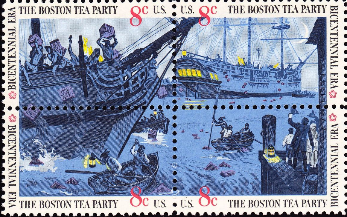 In 1973 the US Post Office issued a set of four stamps, together making one scene of the Boston Tea Party. Credit: Wikimedia Commons
