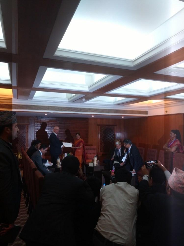 Sushma Swaraj and Sartaj Aziz. Credit: Devirupa Mitra