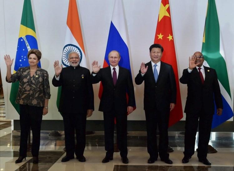 Narendra Modi and fellow BRICS heads of state. Credit: PTI
