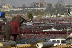 Preparations for the Art of Living event. Credit: PTI