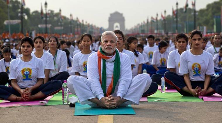 File picture of Prime Minister Narendra Modi participating in yoga in Delhi. Credit: PTI