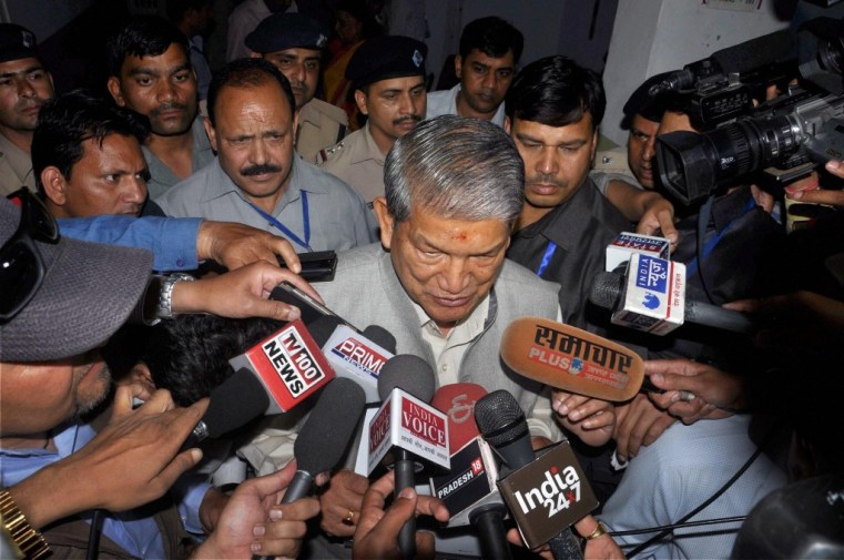 Uttarakhand chief minister Harish Rawat addressing the media outside the assembly in Dehradun on Saturday. Credit: PTI
