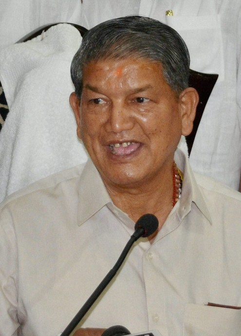 Uttarakhand Chief Minister Harish Rawat addresses a press conference in Dehradun on Thursday after the Uttarakhand High Court quashed the imposition of President' rule in the state. Credit: PTI