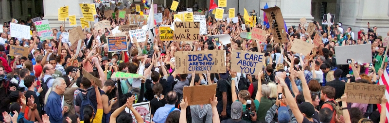 Protestors at the Occupy Wall Street Movement. Credit: Wikimedia Commons
