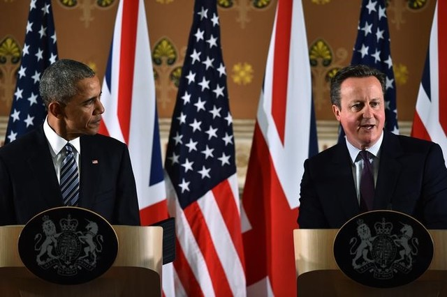 Britain's Prime Minister David Cameron (R) and US President Barack Obama (L) during a press conference at the Foreign and Commonwealth Office in central London on April, 22, 2016. Credit: Reuters/Ben Stansall/Pool