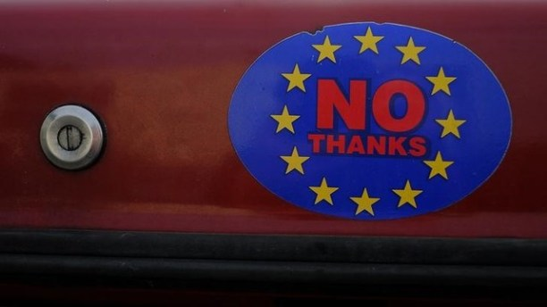 A car sticker with a logo encouraging people to leave the EU is seen on a car, in Wales, February 27, 2016. Credit: Reuters