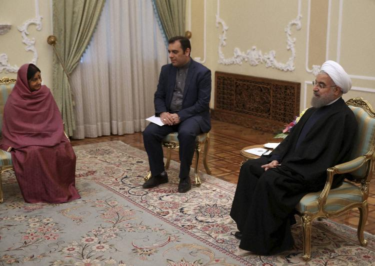 Union External Affairs Minister Sushma Swaraj with Iranian President Hassan Rouhani. Credit: PTI