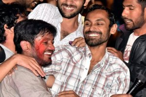 JNU students slapped with sedition charges: Kanhaiya Kumar, Umar Khalid and Anirban Bhattacharya. Credit: PTI Photo by Vijay Verma