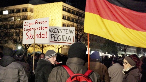 PEGIDA has been holding anti-refugee protests that are also critical of the media. Credit: Faz.net