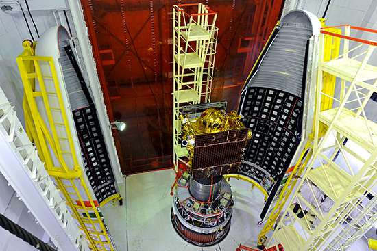 Two halves of the PSLV-C22 heat shield enclosing the IRNSS-1A satellite. Source: ISRO