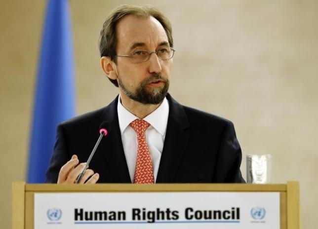 United Nations High Commissioner for Human Rights Zeid Ra'ad Al Hussein addresses the 31st session of the Human Rights Council at the UN European headquarters in Geneva, Switzerland, February 29, 2016. Credit: Reuters/Denis Balibouse
