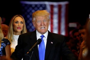 Republican US presidential candidate and businessman Donald Trump speaks to supporters after his rival, Senator Ted Cruz, dropped out of the race following the results of the Indiana state primary, at Trump Tower in Manhattan, New York, May 3, 2016. Credit: Reuters/Lucas Johnson