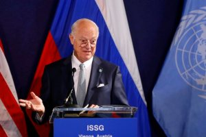 United Nations special envoy on Syria Staffan de Mistura speaks during a news conference in Vienna, Austria, May 17, 2016. Credit: Reuters/Leonhard Foeger
