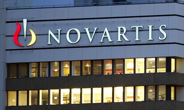 The logo of Swiss drugmaker Novartis is seen at its headquarters in Basel, Switzerland October 22, 2013. Credit: Reuters/Arnd Wiegmann/File Photo