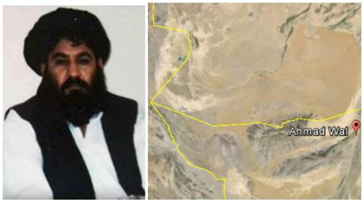 Taliban Mullah Mansour and map