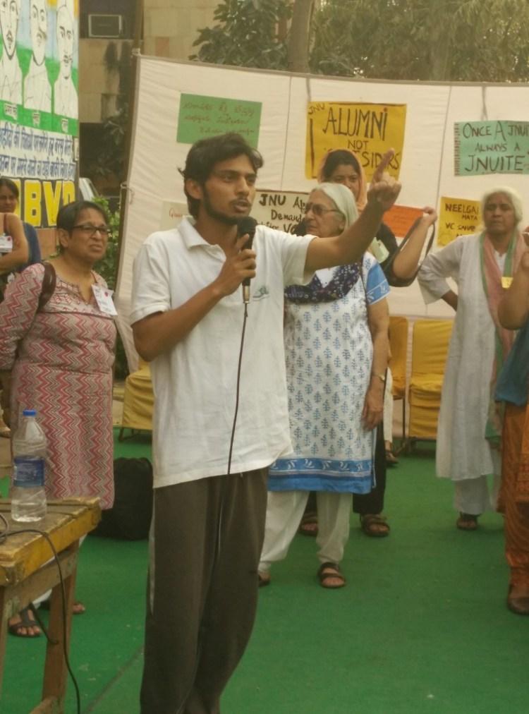 Rama Naga, on indefinite hunger strike, addressing the gathering