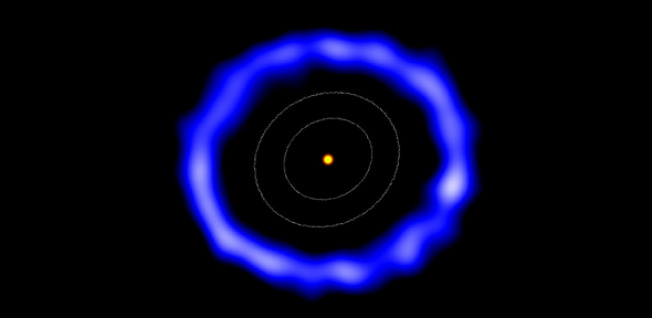 ALMA image of the ring of comets around HD 181327 (colours have been changed). The white contours represent the size of the Kuiper Belt in the Solar System. Credit: Amanda Smith, University of Cambridge