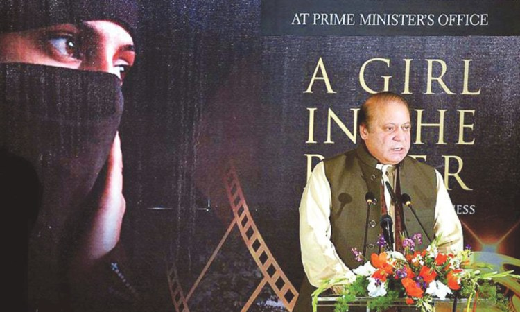 Prime Minister Nawaz Sharif speaks at the screening of A Girl in the River at the Prime Minister House, Islamabad. Credit: Prime Minister's office