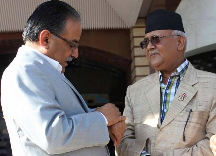 Nepali Maoist leader Pushp Kumar Dahal 'Prachanda' and Prime Minister K.P. Oli. Credit: Reuters