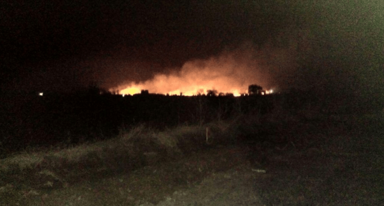 The fire at the central ammunition depot, Pulgaon. Credit: Twitter.