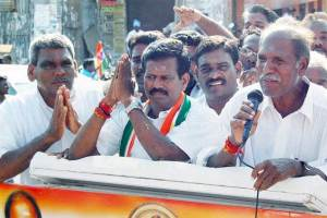 N. Rangasamy of the AINRC during an election campaign in the Bahoor reserved constituency in Puducherry, May 14, 2016. Credit: PTI Photo