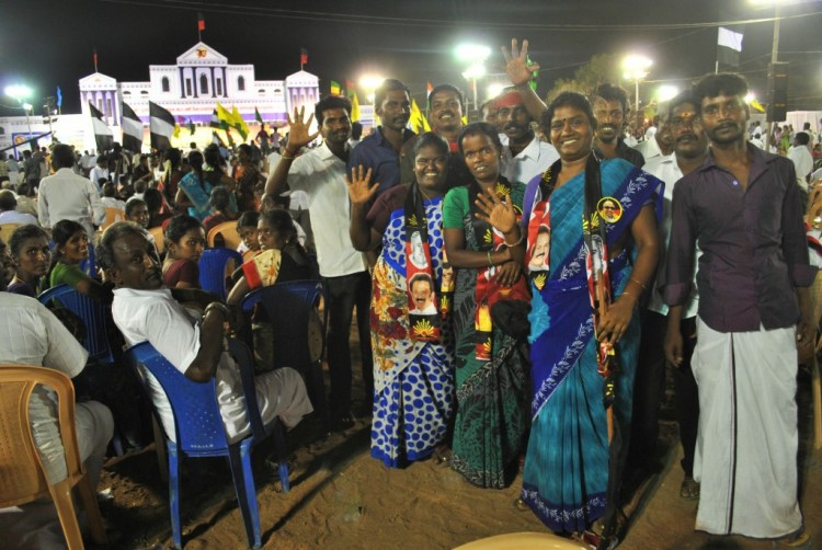 Members of the DMK women's wing pose at a meeting. Credit: Rohini Mohan