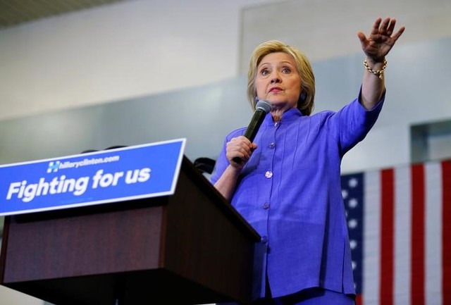 US Democratic presidential candidate Hillary Clinton speaks during a campaign stop in San Bernardino, California, United States June 3, 2016. Credit: Reuters/Mike Blake