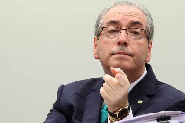 Brazil's President of the Chamber of Deputies Eduardo Cunha gestures during his defense in an ethics committee of the lower house, in Brasilia, Brazil, May 19, 2016. Credit: Reuters/Adriano Machado/Files