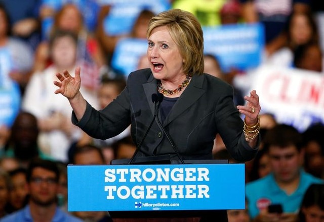 Democratic US presidential candidate Hillary Clinton speaks during a campaign event at the North Carolina State Fairgrounds in Raleigh, North Carolina, June 22, 2016. Credit: Reuters/Jason Miczek
