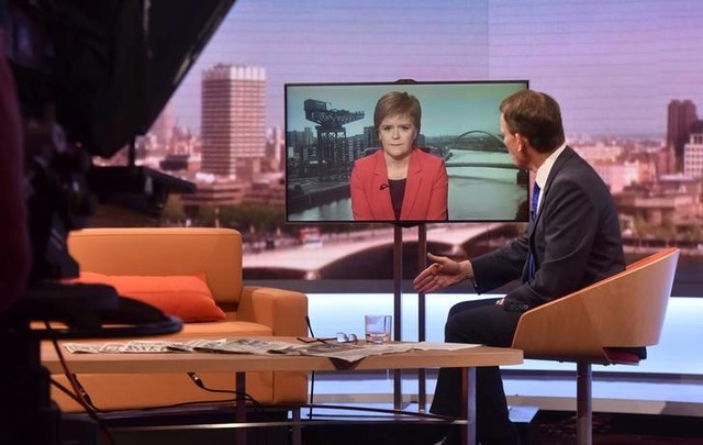 Scotland's First Minister Nicola Sturgeon appears via video link on the BBC's Andrew Marr Show in this photograph received via the BBC in London, Britain June 26, 2016. Jeff Overs/Courtesy of the BBC/Handout via REUTERS