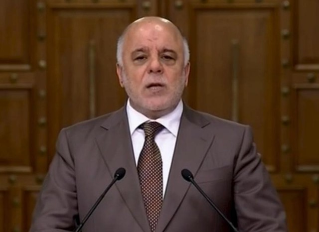Iraqi Prime Minister Haider al-Abadi speaks during a news conference in Baghdad, Iraq in this still image from video April 15, 2016. Credit: Reuters/Iraqiya TV via Reuters TV/Files