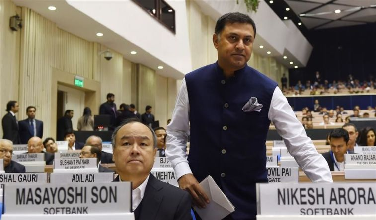 Nikesh Arora and Masayoshi Son at the Start-Up India event in New Delhi. Credit: PTI