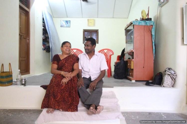 Mugilan and his wife, Poongkodi, at their home. Chennimalai, Tamil Nadu.